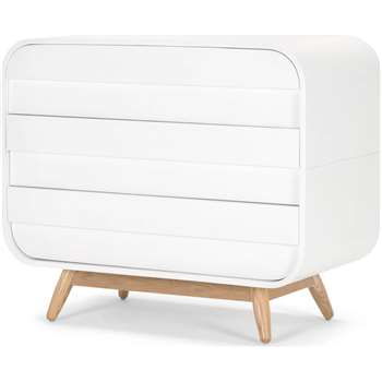 Esme Chest of Drawers, White and Ash (H75 x W90 x D45cm)