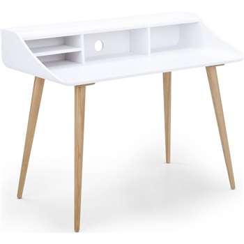 Esme Desk,  White and Ash (94 x 120cm)