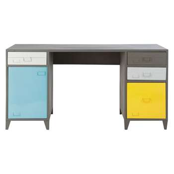 Espace Metal industrial desk in grey (75 x 150cm)