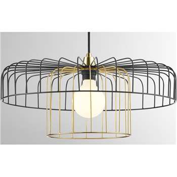 Estella Lamp Shade Set, Black and Brass (H30 x W50 x D50cm)