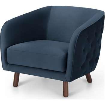Esther Accent Armchair, Sapphire Blue Velvet (H70 x W80 x D86cm)