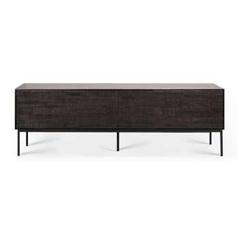 Ethnicraft - Grooves TV Cabinet - Grey - 1 Door & 1 Drawer (H53 x W162 x D45cm)