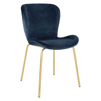 Etta Chair Blue Velvet Upholstered Dining Chair With Brass Legs (H82.5 x W48 x D56cm)