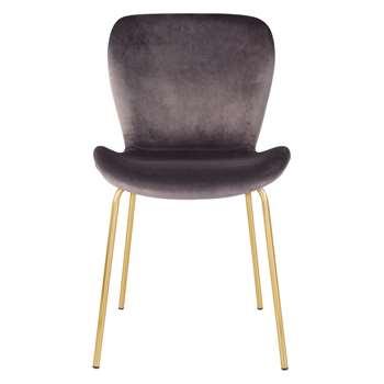 Etta Chair Grey Velvet Upholstered Dining Chair With Brass Legs (H82.5 x W48 x D56cm)