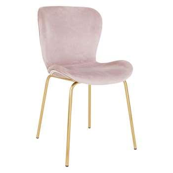 Etta Chair Pink Velvet Upholstered Dining Chair With Brass Legs (H82.5 x W48 x D56cm)