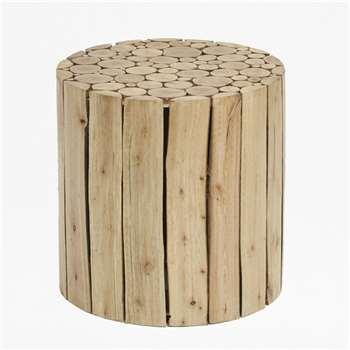 Eucalyptus Wood Table - Natural (40 x 40cm)