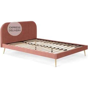 Eulia Double Bed, Blush Pink Velvet (H90 x W153 x D204cm)
