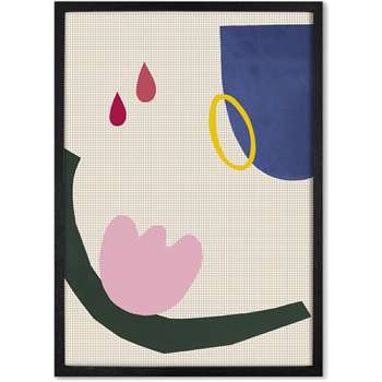 Eva Abstract Shapes Framed A2 Wall Art Prints, Multi with an Oak Frame (H63.8 x W46.4cm)