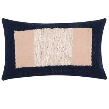 EVA - Blue and Beige Cotton Cushion Cover (H30 x W50cm)