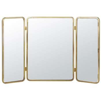 EVA - Golden Metal Triptych Mirror (H63 x W94 x D2cm)
