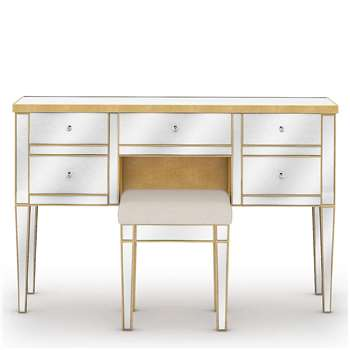 Evelyn 5 Drawer Dressing Table, Gold (H81.5 x W120 x D40cm)