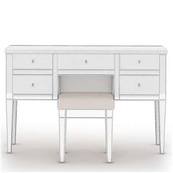 Evelyn 5 Drawer Dressing Table, Silver (H81.5 x W120 x D40cm)