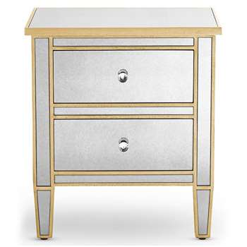 Evelyn Bedside Table, Gold (H56.5 x W50 x D40cm)