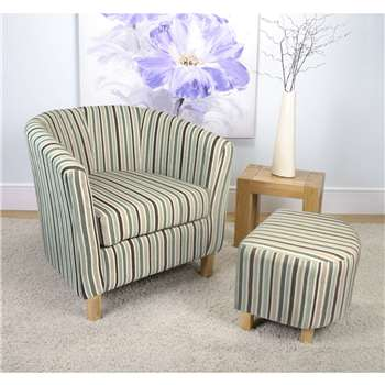 Evelyn Stripe Fabric Duck Egg Blue Tub Chair Set (72 x 74cm)