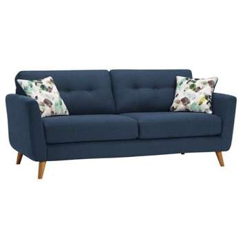 Evie Blue Fabric 3 Seater Sofa (H90 x W202 x D88cm)