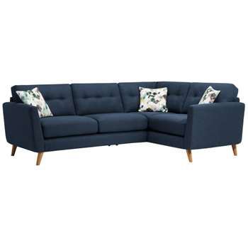 Evie Blue Fabric Corner Sofa Left Hand (H90 x W248 x D174cm)