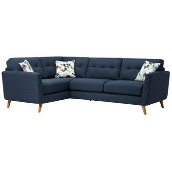 Evie Blue Fabric Corner Sofa Right Hand (H90 x W248 x D174cm)