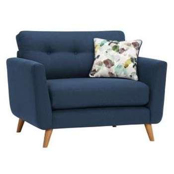 Evie Blue Fabric Loveseat (H90 x W117 x D88cm)