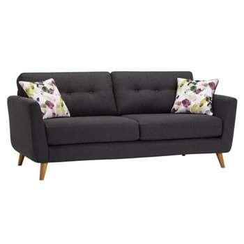 Evie Charcoal Fabric 3 Seater Sofa (H90 x W202 x D88cm)
