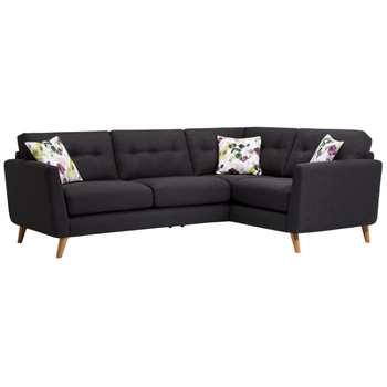 Evie Charcoal Fabric Corner Sofa Left Hand (H90 x W248 x D174cm)