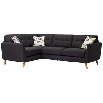 Evie Charcoal Fabric Corner Sofa Right Hand (H90 x W248 x D174cm)