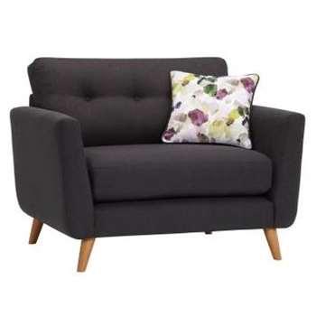 Evie Charcoal Fabric Loveseat (H90 x W117 x D88cm)