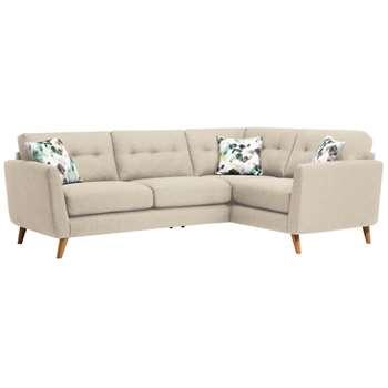 Evie Ivory Fabric Corner Sofa Left Hand (H90 x W248 x D174cm)