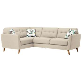 Evie Ivory Fabric Corner Sofa Right Hand (H90 x W248 x D174cm)