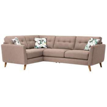 Evie Mink Fabric Corner Sofa Right Hand (H90 x W248 x D174cm)