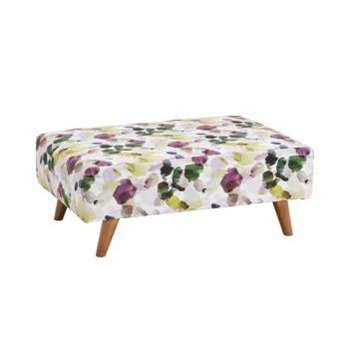 Evie Patterned Purple Fabric Footstool (H41 x W95 x D63cm)