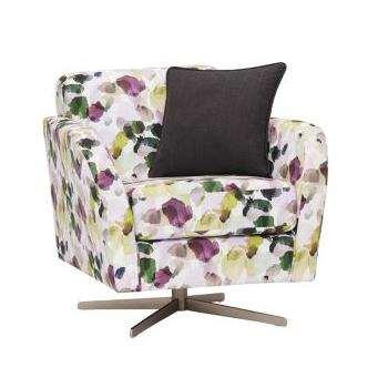 Evie Patterned Purple Fabric Swivel Chair (H80 x W81 x D86cm)