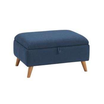 Evie Plain Blue Fabric Storage Footstool (H42 x W84 x D63cm)