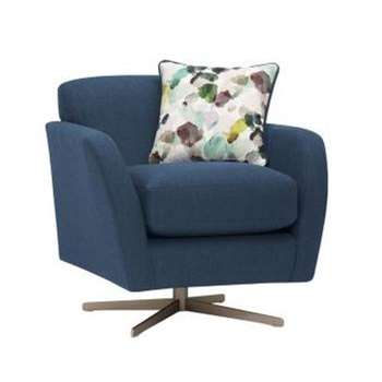 Evie Plain Blue Fabric Swivel Chair (H80 x W81 x D86cm)