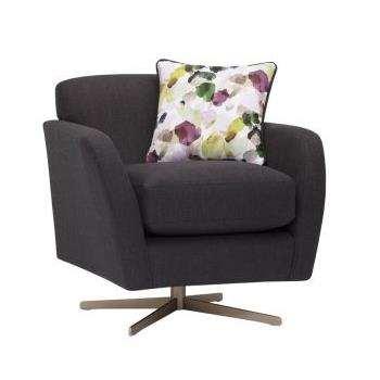 Evie Plain Charcoal Fabric Swivel Chair (H80 x W81 x D86cm)