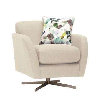 Evie Plain Ivory Fabric Swivel Chair (H80 x W81 x D86cm)