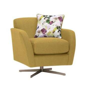 Evie Plain Lime Fabric Swivel Chair (H80 x W81 x D86cm)
