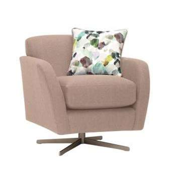 Evie Plain Mink Fabric Swivel Chair (H80 x W81 x D86cm)