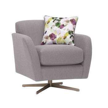 Evie Plain Silver Fabric Swivel Chair (H80 x W81 x D86cm)