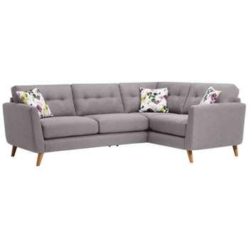 Evie Silver Fabric Corner Sofa Left Hand (H90 x W248 x D174cm)