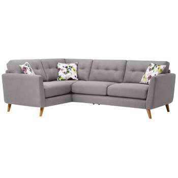 Evie Silver Fabric Corner Sofa Right Hand (H90 x W248 x D174cm)