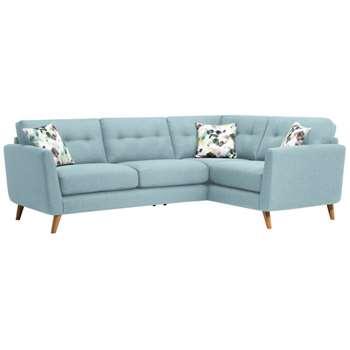 Evie Sky Fabric Corner Sofa Left Hand (H90 x W248 x D174cm)