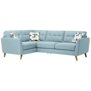 Evie Sky Fabric Corner Sofa Right Hand (H90 x W248 x D174cm)