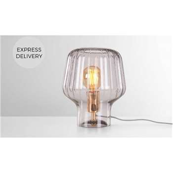 Ewer Table Lamp, Smoke Glass and Polished Copper (H27 x W22 x D22cm)