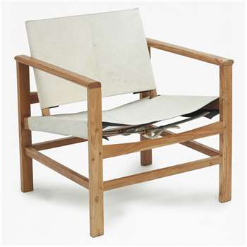 Executive Cowhide Lounge Chair - White (76 x 63cm)