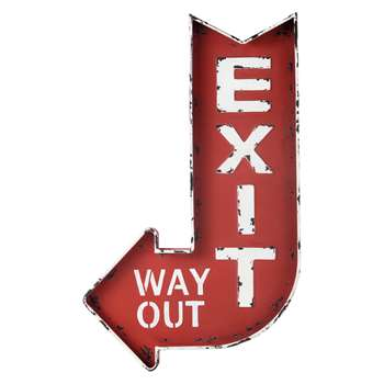 EXIT Red Metal Sign (H81 x W49 x D4cm)
