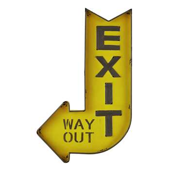 EXIT Yellow Metal Sign (H81 x W50 x D4cm)