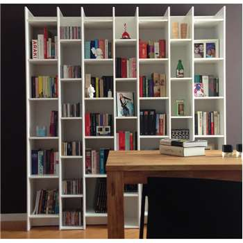 Expand Cabinet & Bookcase with Extension in Contemporary Pine White 200 x 130cm
