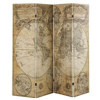EXPLORATEUR Old Map Print Screen (H202.5 x W180 x D2.5cm)