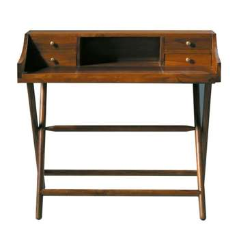 Explorateur Stained solid teak desk (93 x 102cm)