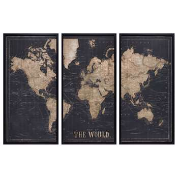 EXPLORE Black World Map Triptych Frame (120 x 180cm)
